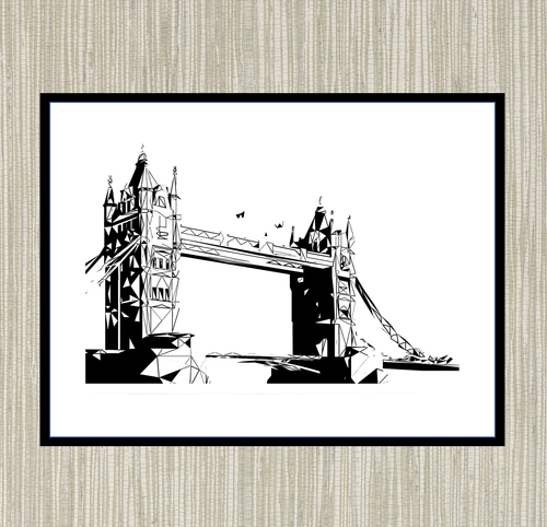 Geometric Sketch Print - Tower Bridge, London