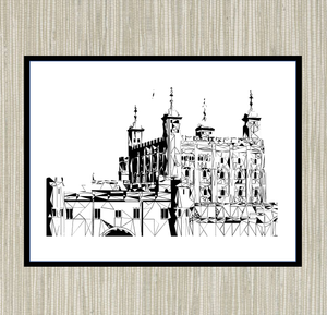 Geometric Sketch Print - Tower of London