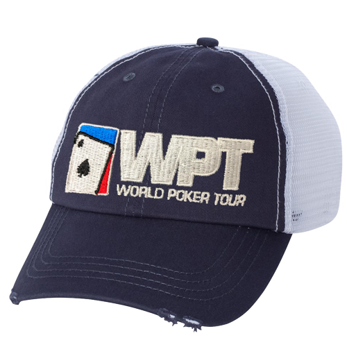 WPT Distressed Trucker Cap (Navy/White)