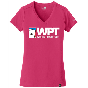 Ladies Large Logo Weathered V-Neck Tee (Deep Pink)