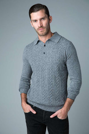 3 button grey cable sweater