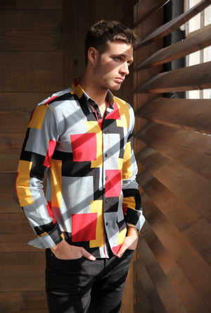 Men's Long Sleeve Jaquard Shirt