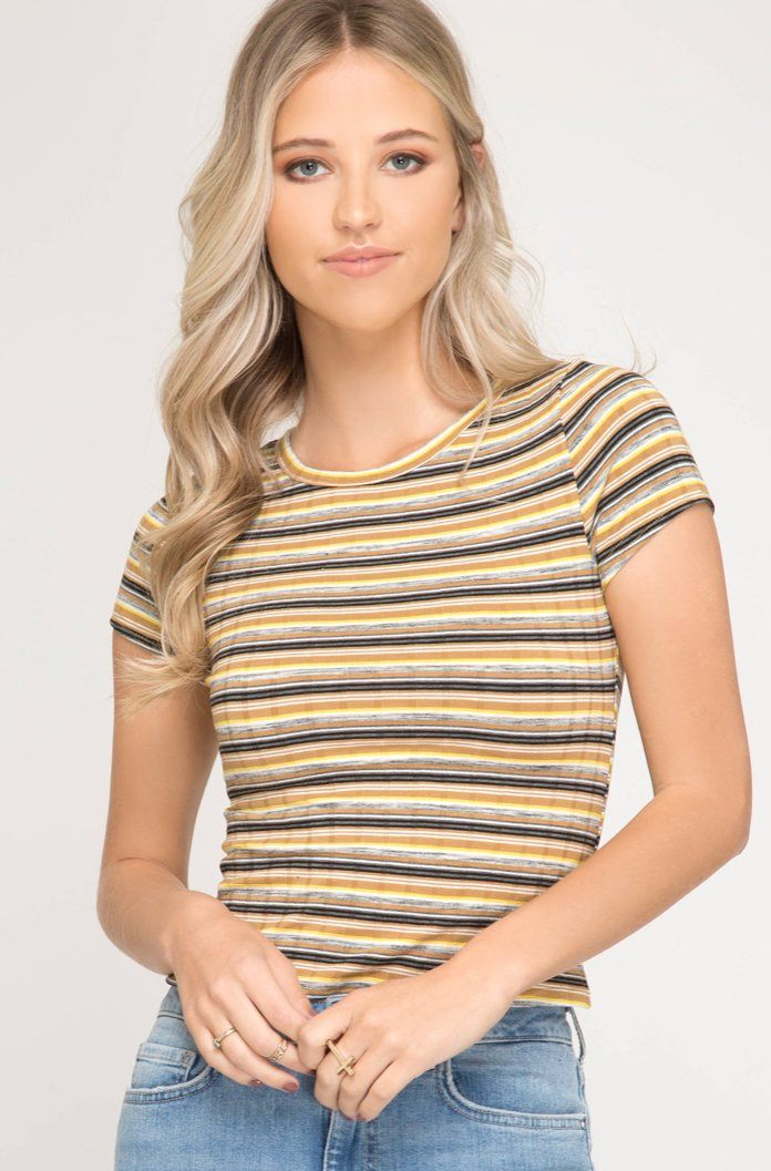 Striped Short Sleeve Crop Top - K T Dezigns, Crop Tops, product_vendor]