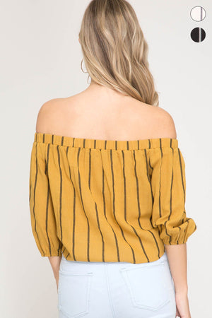 She & Sky Mustard Off The Shoulder Striped Shirt - K T Dezigns, Fashion Top, product_vendor]