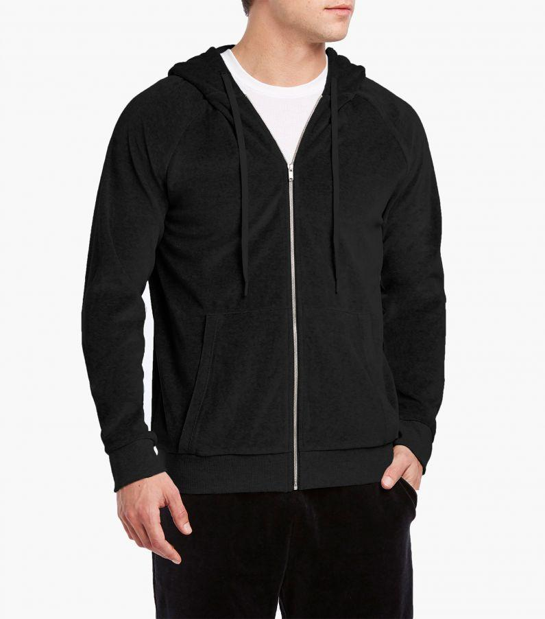 Men's classic black rich velour zip hoodie front view
