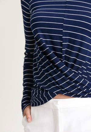 Striped Turtle Neck Crop Long Sleeve Top