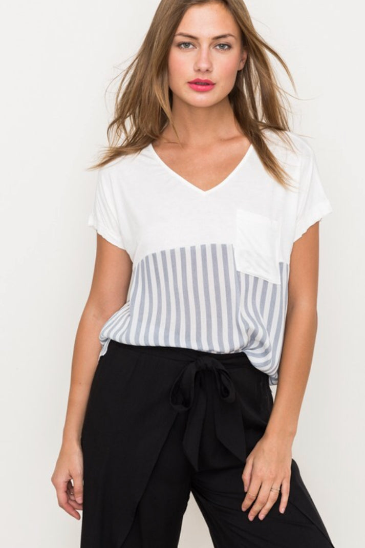 Short Sleeve Vertical Striped Off White Tunic