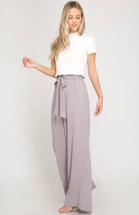 Paper Bag Style Woven Culotte Pants With Waist Sash - K T Dezigns, Women's Pants, product_vendor]