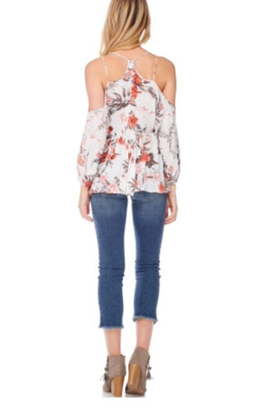 Floral Cold Shoulder Top - K T Dezigns, Fashion Top, product_vendor]
