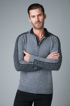 Quarter Zip with Jacquard Sleeve Cashmere Sweater