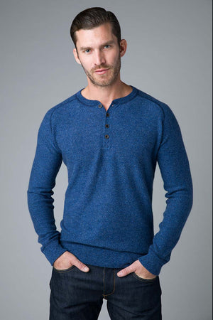 blue cashmere henley sweater
