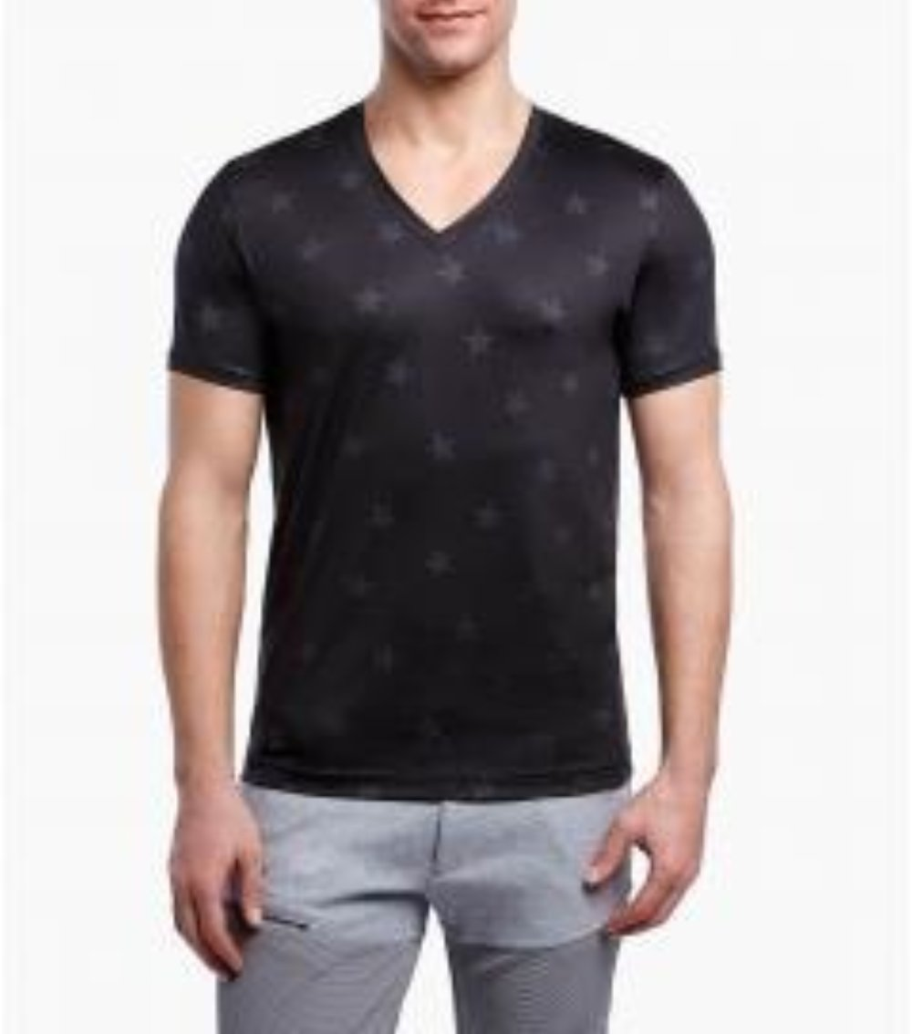 Men's V Neck Short Sleeve Black Tee Shirt with star print