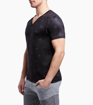 2(X)IST Men's Black Star Print Performance V-Neck Tee Shirt - K T Dezigns, Men's Tee Shirts, product_vendor]