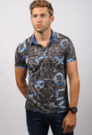 Brilliant Blue and Brown Men's Polo Shirt