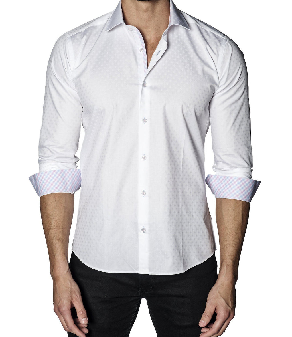 Men's White Long sleeve Shirt with Contrast Stitching.