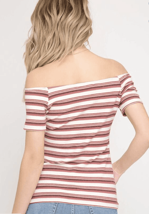 She & Sky Off the Shoulder Striped Top - K T Dezigns, Fashion Top, product_vendor]