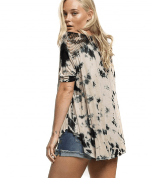 Mesh Back Yoke High Low Ink Splat Tee - K T Dezigns, Fashion Top, product_vendor]