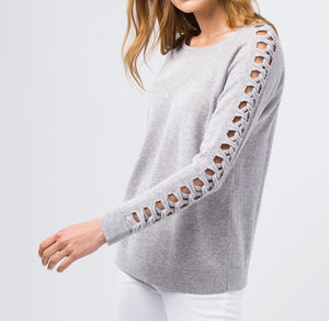Cashmere Braided Sleeve Pullover
