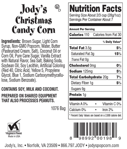 Christmas Candy Corn Color Foil Bag - 12 Count
