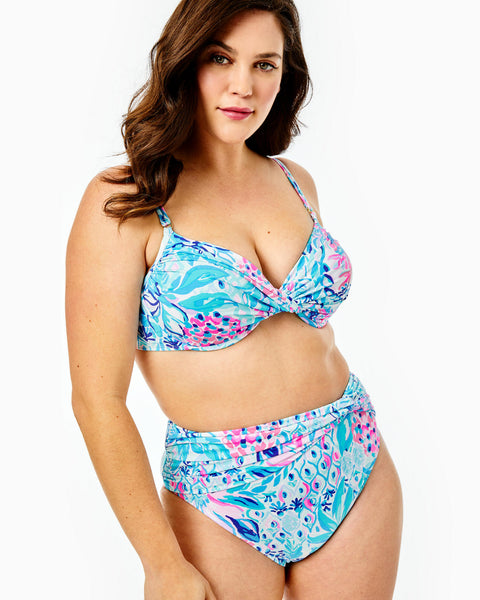 LILLY PULITZER - YARROW HIGH WAISTED BIKINI BOTTOM ZANZIBAR BLUE PARTY PRINCESS