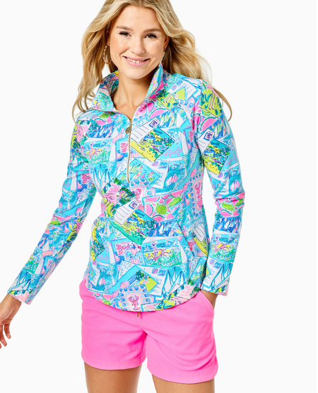 LILLY PULITZER - UPF50+ LUXLETIC JUSTINE PULLOVER HIGH TIDE NAVY PINEAPPLE PARADISE