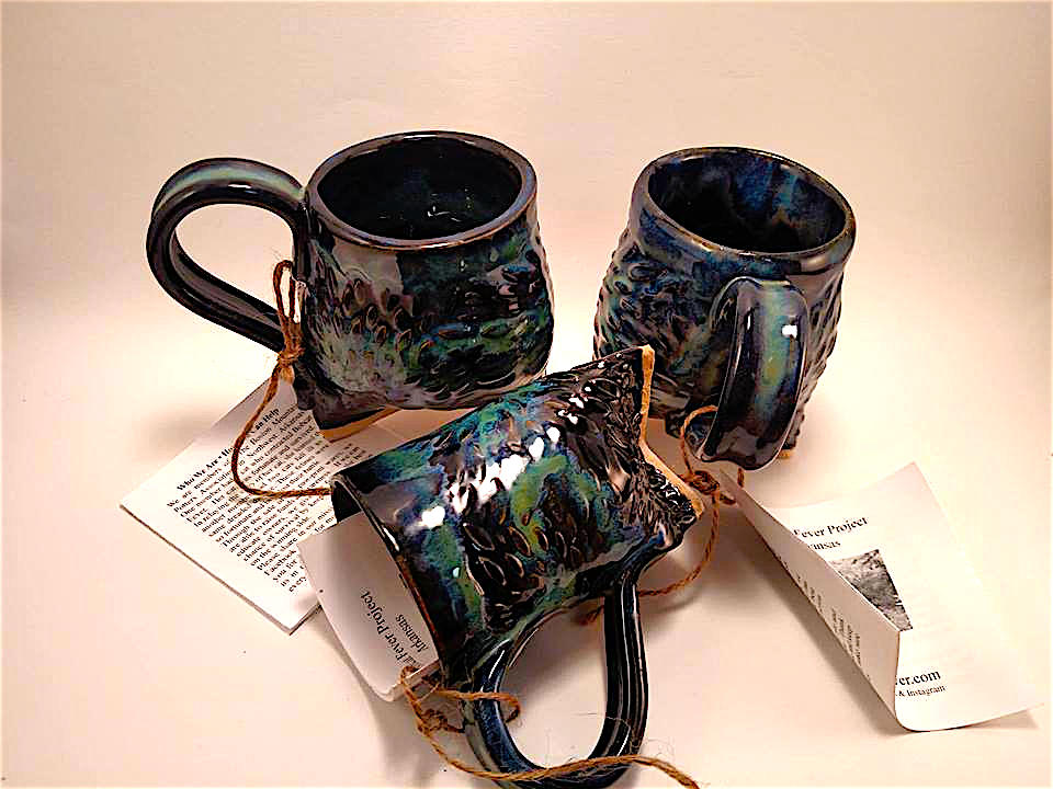 Paw Print Medallion Mug -Tri Foot - Obsidian, Blues & Greens