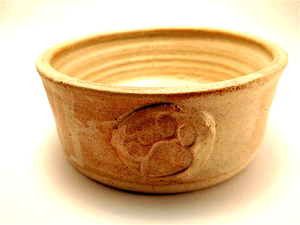Paw Print Medallion Food or Water Bowl • High Fire • Neutral Tones