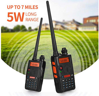 BaoFeng Walkie Talkie UV-5R Dual Band Two Way Radio with one more 1800mAh UV5R Battery one Hand Mic