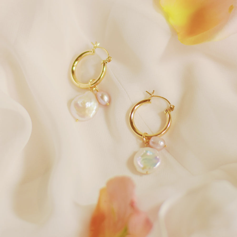 Alicia pearl hoop earrings