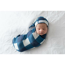 Load image into Gallery viewer, Sleep Buds- Cocoon Swaddle with matching Top Knot- Navy Plaid with Navy Plaid