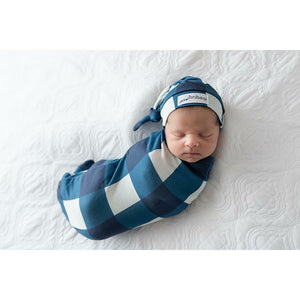 Sleep Buds- Cocoon Swaddle with matching Top Knot- Navy Plaid with Navy Plaid