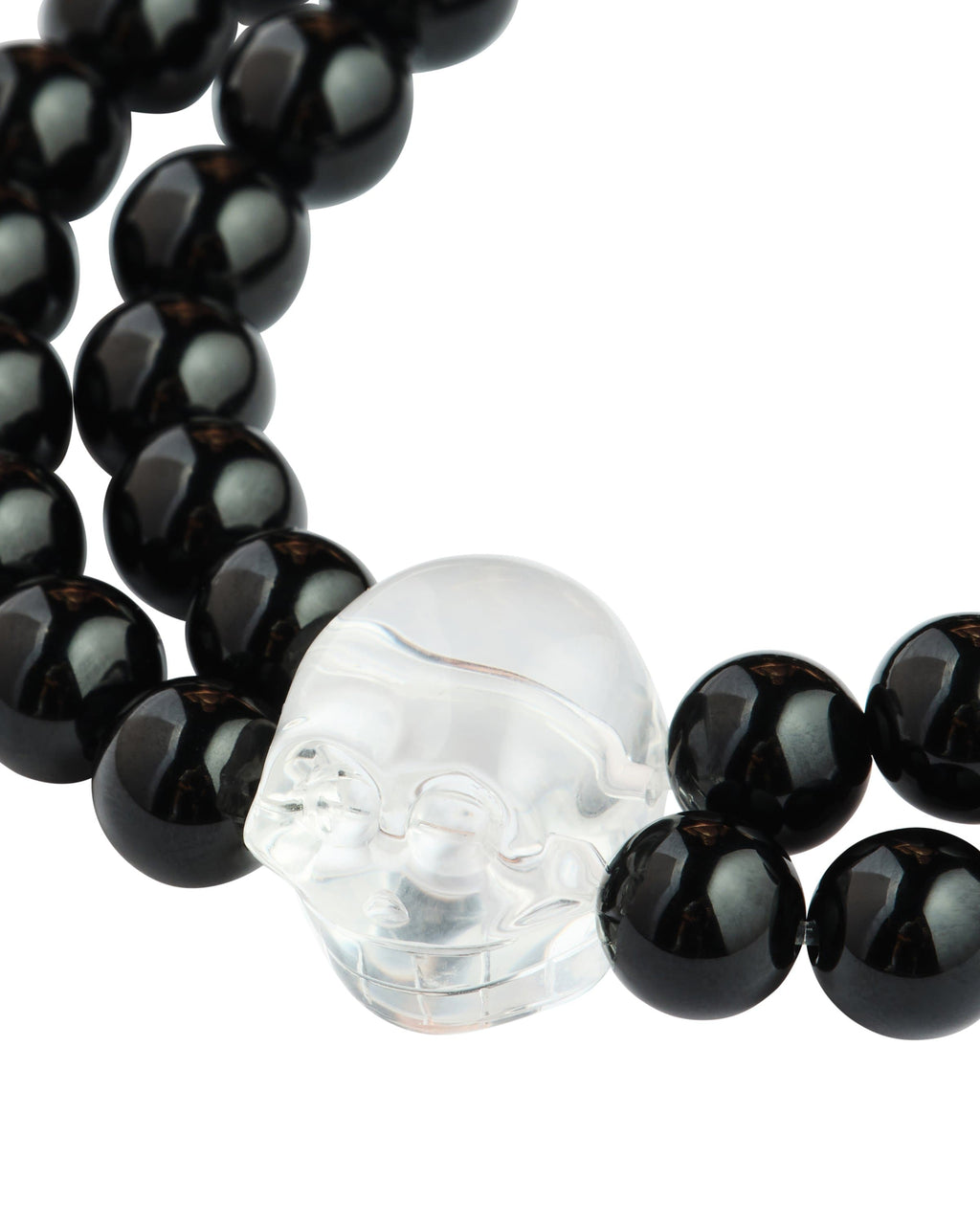 Men's Black Agate with Crystal Quartz Skull