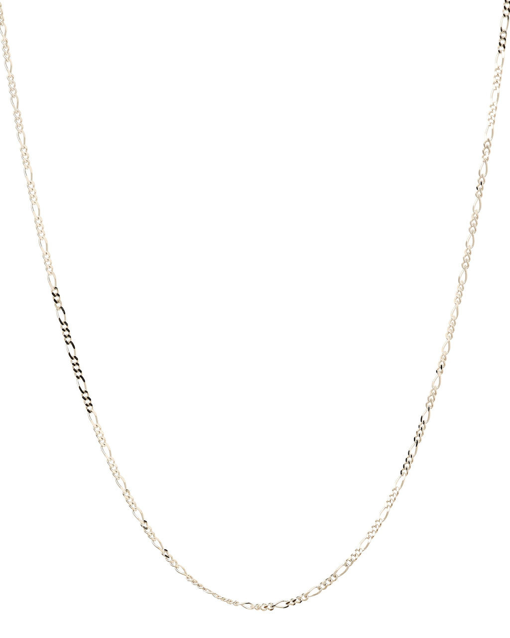 14k Figaro White Gold Chain