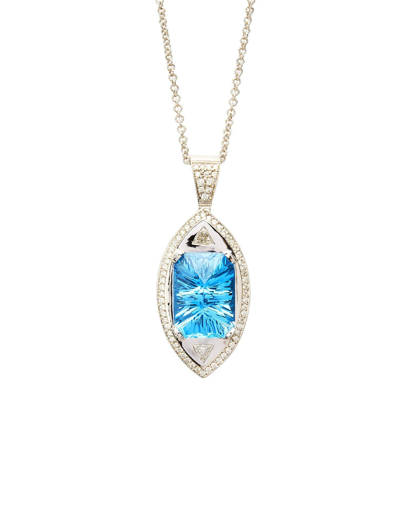 Blue Topaz & Diamonds on 14k Gold