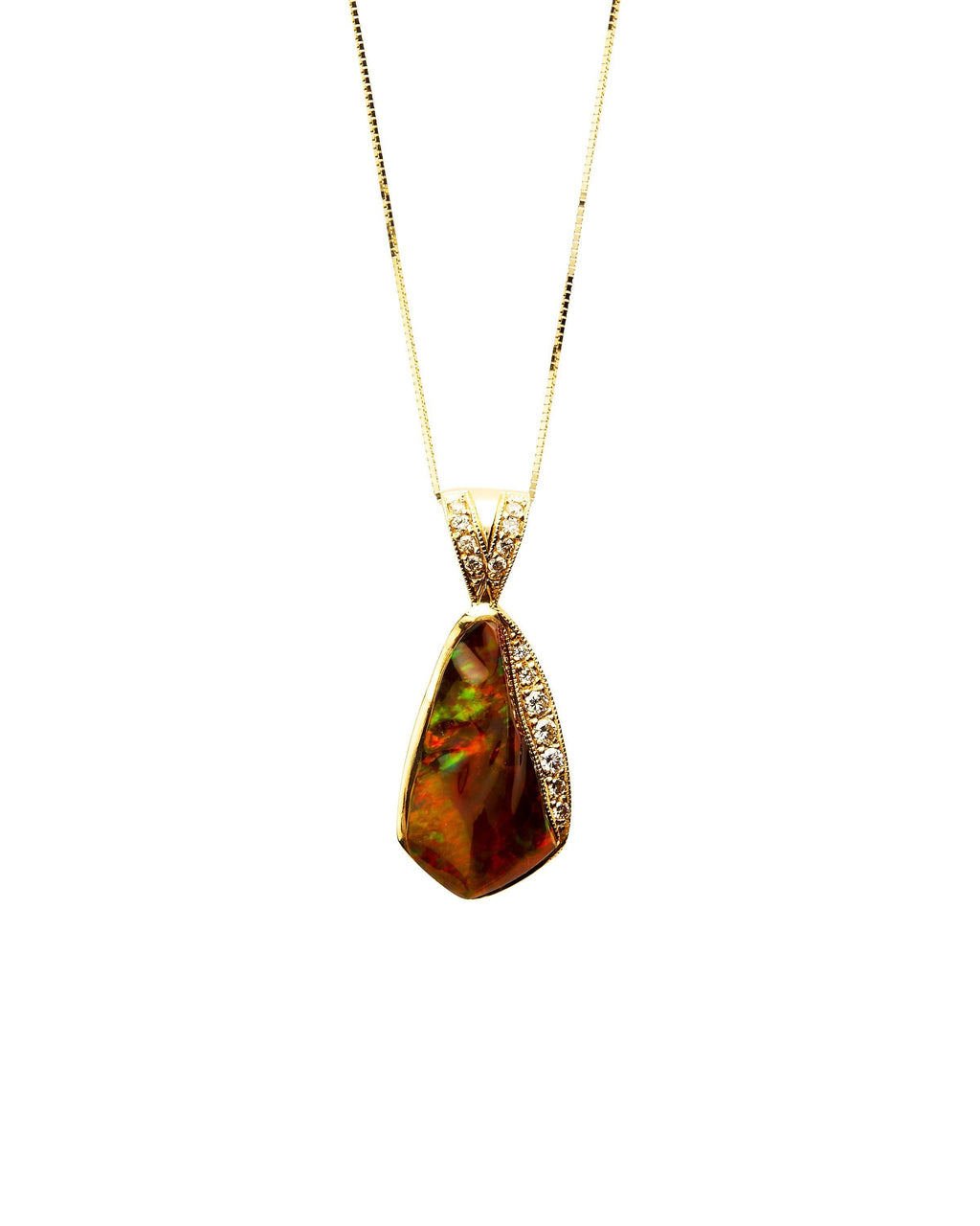Mexican Fire Opal with Diamonds on 14k Gold