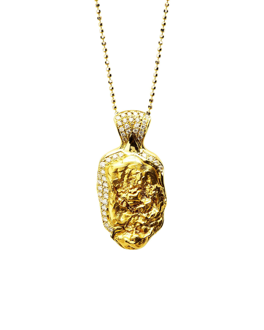 Gold Nugget with Diamonds Pendant