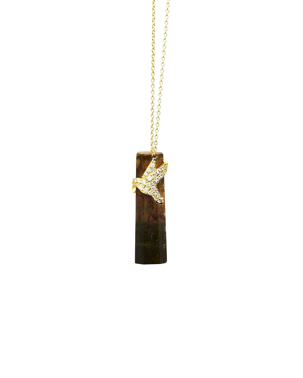 Tourmaline with Diamond Pave Hummingbird on 14k Gold