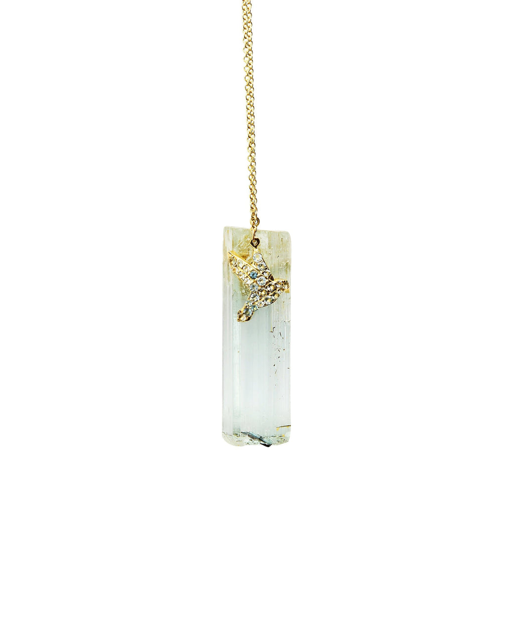 Aquamarine with Diamond Hummingbird on 14k Gold