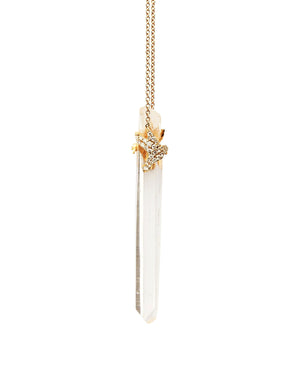 Lemurian Quartz with Diamond Pave Hummingbird on 14k Gold