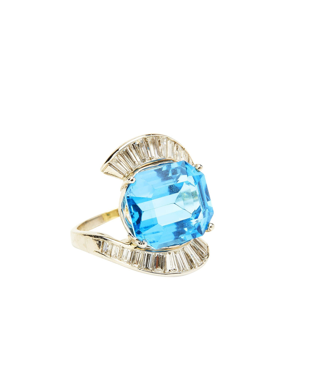 Blue Topaz & Diamond on Platinum