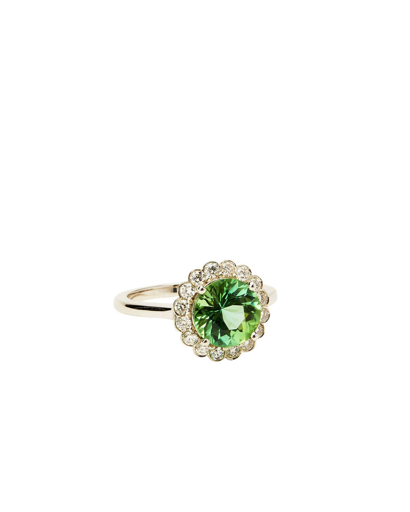 Mint Tourmaline & Diamond on 14K Gold