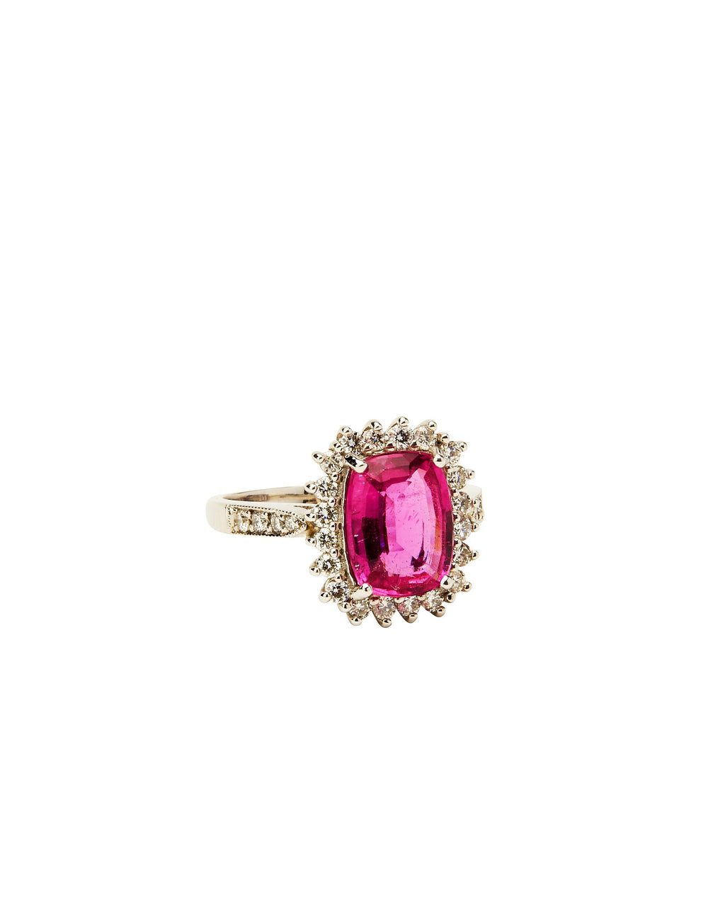Pink Tourmaline & Diamond on 14K Gold