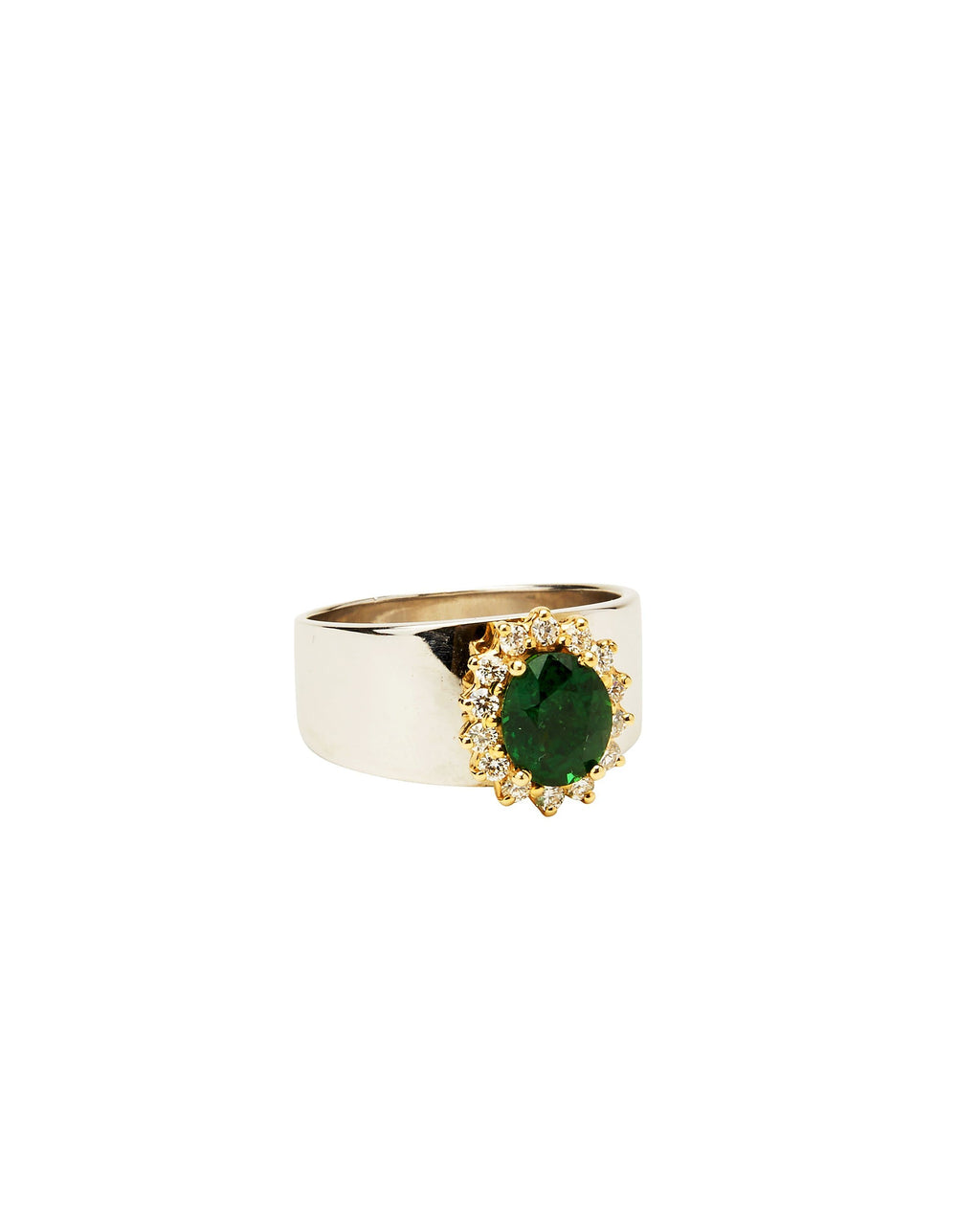 Tsavorite Garnet and Diamond on 14k White Gold