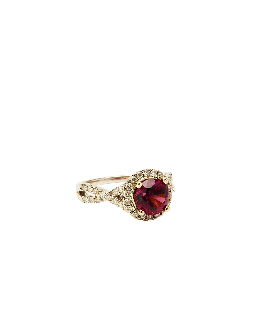 Garnet and Diamond on 14k White Gold