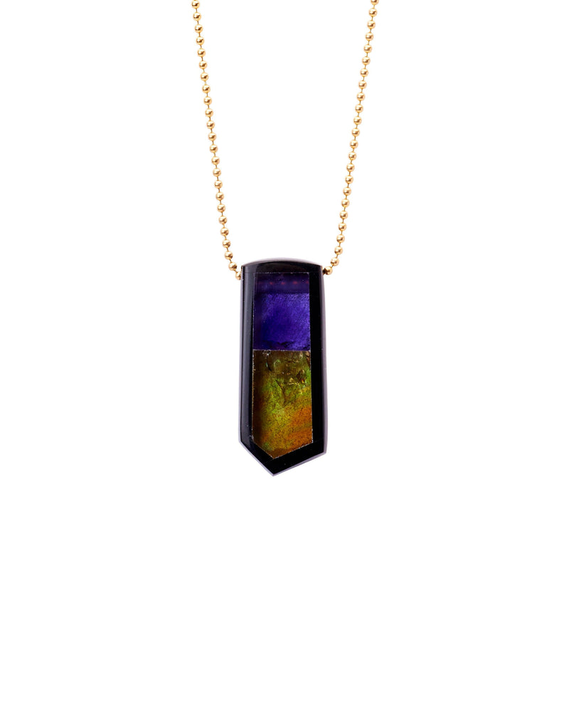 Amethyst, Citrine & Black Jade Inlay