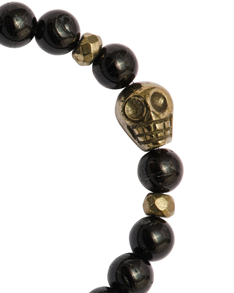 Men's Black Tourmaline with Pyrite Skull