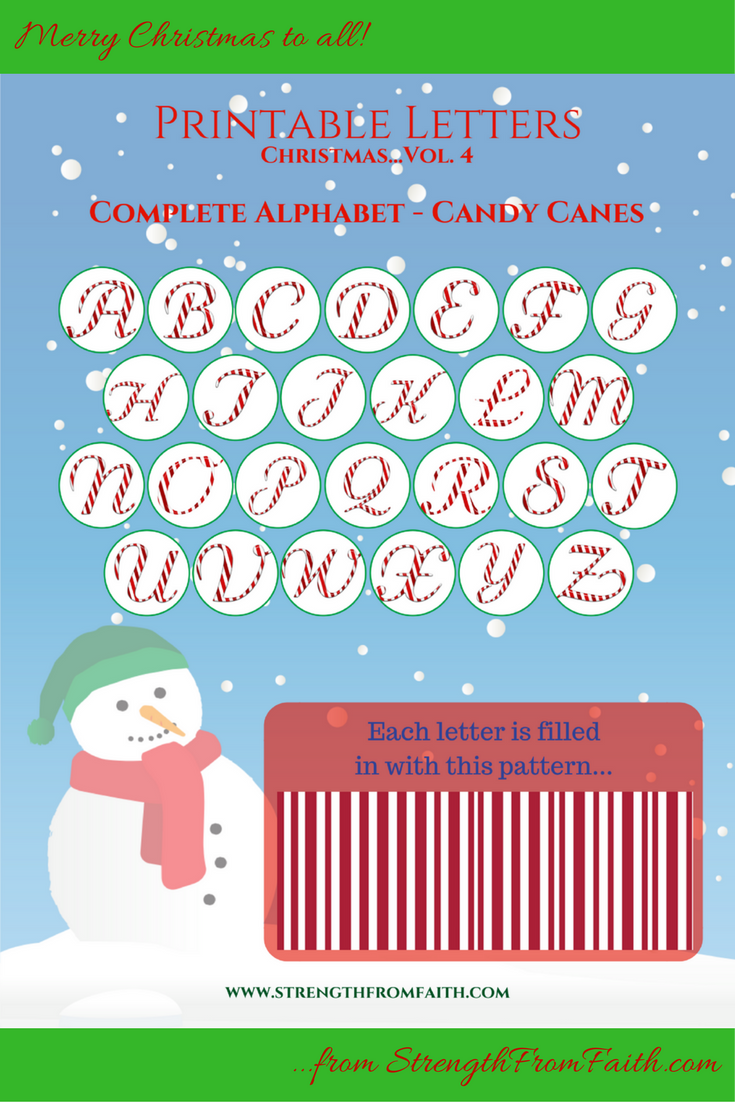 Christmas Printable -Letters, Candy Cane