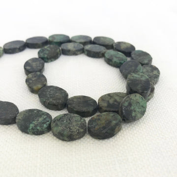African Turquoise Flat oval Bead Strand (AFT_003)