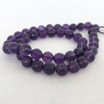 Amethyst Faceted Round Bead Strand (AME_025)