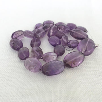 Amethyst Flat oval Graduated Bead Strand (AME_028)